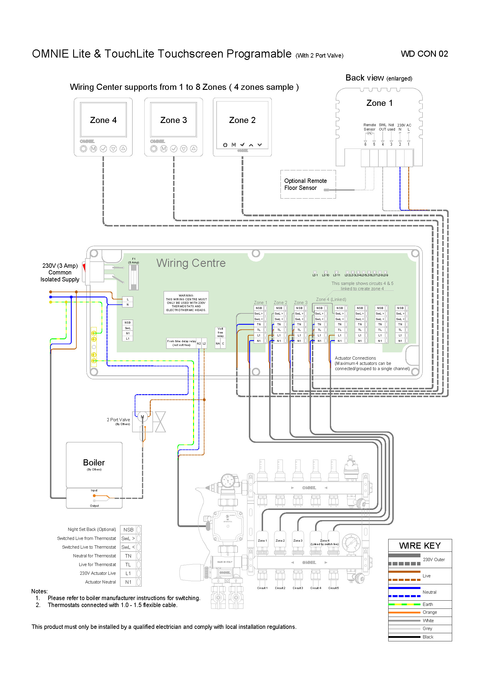 Omnie Lite Programmable Thermostat  U2013 Wiring Diagram  U2013 Omnie Underfloor Heating  Heat Pumps